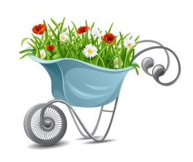 Trolley with Flower  Vector