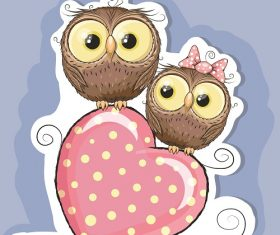 Two Lovely Owl Sitting on top of Heart Shape Cartoon Background Vector