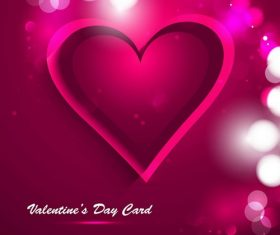 Valentines Day Card Glowing Heart Background Vector