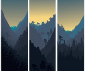 Vertical Scenery Sunset Mountain View Background Vector