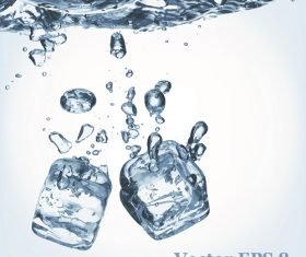 Water falling ice cubes background Vector