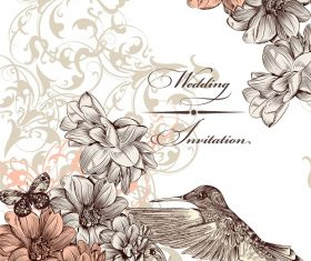 Wedding Invitation Flower Background Vector