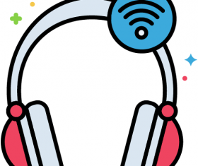 Wireless Headphones Icon Vector