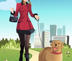 Woman Walking Big Dog in the Park Cartoon Background Vector