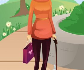 Woman Walking in the Park with her Cute Little  Dog Cartoon Background Vector