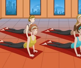 Women Doing  Stretching in a Yoga Studio Cartoon Background Vector