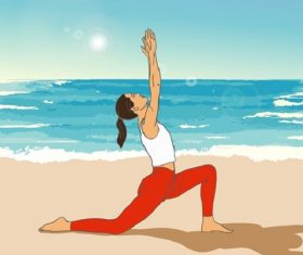 Women Doing Yoga Stretching Near the Beach Cartoon Background Vector