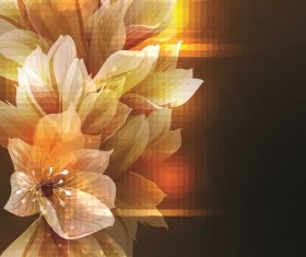 Yellow black orange flower pixilate background vector