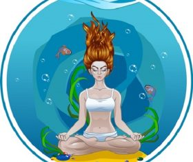 Yoga Girl Meditates Under Water Cartoon Background Vector