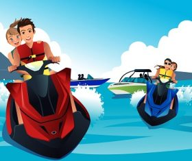 Young People Enjoying Riding Jet Ski Cartoon Background Vector