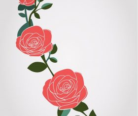 3 Roses in One Stem Background Vector