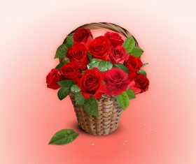 Basket full of Roses Background Vector