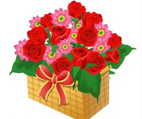 Basket of Red Rose and Pink Daisy with Ribbon Cartoon Background Vector