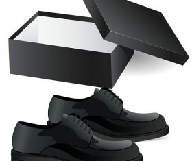 Black Leather Shoes With Box Vector