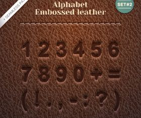 Brown Number Embossed Leather Pattern Vector