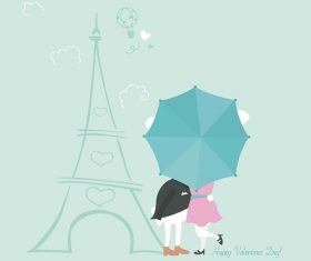 Bunnies Behind Umbrella Cartoon Background Vector