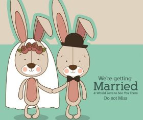 Bunnies Getting Married Cartoon Background Vector