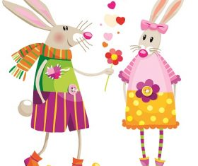 Bunnies In Love Cartoon Background Vector