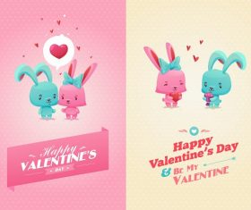 Bunnies Inlove Valentines Cartoon Background Vector