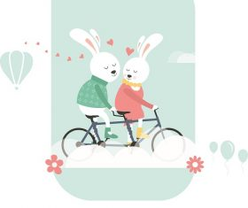 Bunnies On Bicycle Cartoon Background Vector