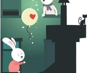 Bunnies With Balloon Cartoon Background Vector