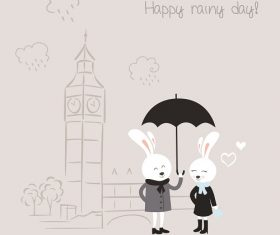 Bunnies With Black Umbrella Cartoon Background Vector