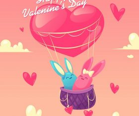 Bunnies in Hot Air Balloon Cartoon Background Vector