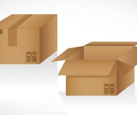 Cardboard Boxes Opened and Closed Isolated on White Background