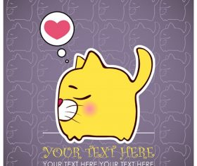 Cartoon Cat Thinking Heart Background Vector