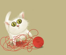 Cat Playing With Red Yarn Background Vector