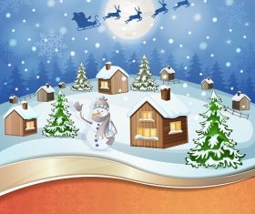 Christmas Village Snow Evening Background Vector