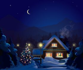 Christmas Winter Evening Background Vector