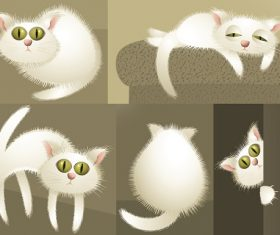 Cute Cat Playing and Doing Nothing Cartoon Background Vector