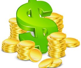 Dollar Sign with Gold Coins Icon Vector
