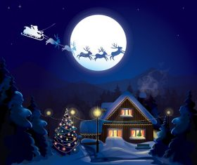 Evening Christmas Winter Background Vector