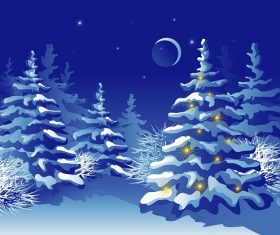 Evening Snow Christmas Light on tree Background Vector
