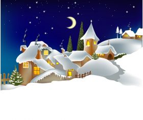 Evening Snow Landscape Background Vector
