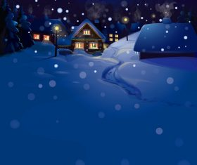 Evening Winter Snow Fall Background Vector