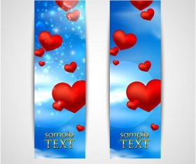 Floating Heart Strips with Blue Background Vector