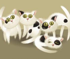 Four Black Spot Cat Cartoon Background Vector