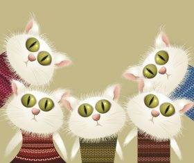 Four Cute Cat Wearing Sweater Cartoon Background Vector