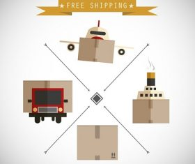 Free Delivery Boxes Illustration Background Vector