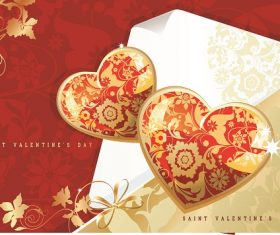 Glossy Gold Heart with Pattern Valentines Day background vector