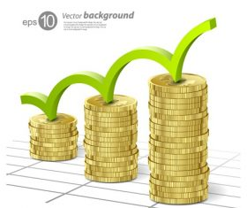 Gold Coins Icon Graph Vector