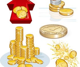 Gold Coins Red Arrow Icon Vector