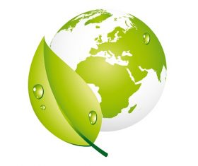 Green Earth Leaf Icon Vector