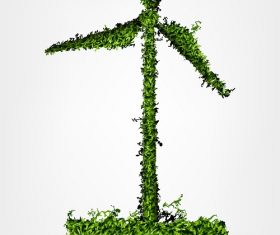 Green Wind Turbine Background Vector