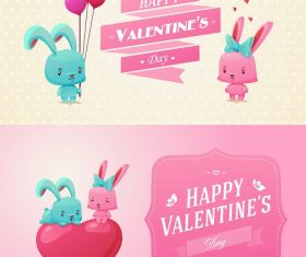 Happy Valentines Bunnies Cartoon Background Vector