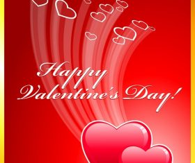 Happy Valentines Day with Flying Heart Background Vector