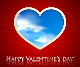 Happy Valentines Day with Heart Clouds Background Vector